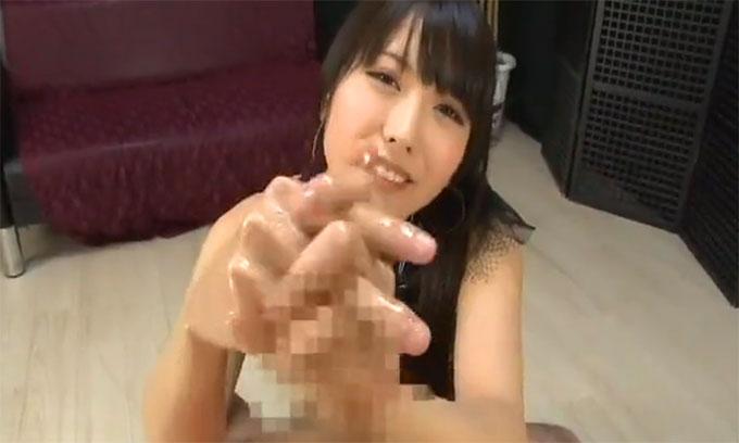 【痴女動画】有村千佳|ローションを使って焦らし激しい手コキで男の潮吹きをぶちまける超絶テクの痴女【CFNM】